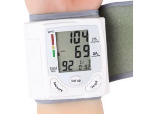 Blood Pressure Monitor Digital LCD Wrist Blood Pressure Monitor & Heart Beat Rate Pulse Meter White USA STOCK