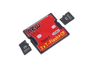 2 Ports TF SDHC to Type I 1 Compact Flash Card CF Reader Adapter