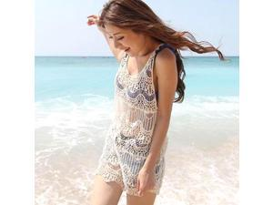 Sexy Openwork Crochet Vest Sweater Bikini Cover Up Swimwear Outside Smock