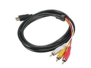 BEAU NEW 5 Feet 1080P HDTV HDMI Male to 3 RCA Audio Video AV Cable Cord Adapter