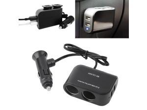 In-car PDA Power Supply 2 USB Ports & 2 Sockets Splitter 12V/24V Car Charger