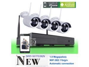 SW 4CH WIFI NVR Wireless Security Camera System with 4 Wireless IP 720P wide angle lens Outdoor security CCTV Cameras + 4CH WIFI NVR Plug and Play Smart Phone APP Remote View ¡