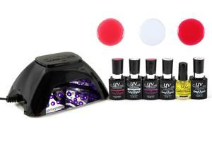 UV-NAILS UV Gel Nail Polish Starter Kit with LED Lamp Colors, French Manicure kit
