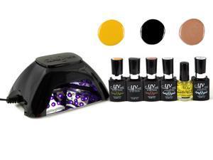 UV-NAILS Salon Quality UV Gel Nail Polish Starter Kit with LED Lamp Colors (G-1, G-25, G-10)