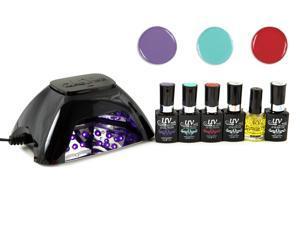 UV-NAILS Salon Quality UV Gel Nail Polish Starter Kit with Black LED Lamp Colors (G-56, G-68, G-54)