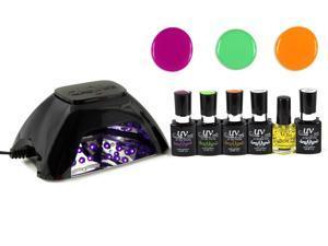 UV-NAILS Salon Quality UV Gel Nail Polish Starter Kit with Black LED Lamp Colors (NE-2, NE-3, NE-6)