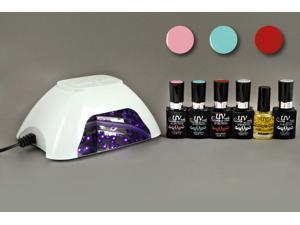 UV-NAILS Salon Quality UV Gel Polish Starter Kit with White LED Lamp and Colors (G-7, G-50, G-68)
