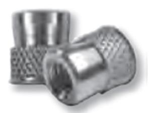 CAW2-0632, NUTSERT INSERT, 6-32 , MATERIAL THICKNESS (.062-UP) RND NUTSERT (DIAMOND KNURLED) LOW PRO HD, STEEL, CAD CLR