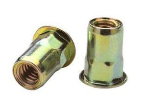 AEHS8-832-130, RIVETNUT, 8-32  (.080-.130 GR) SEMI-HEX BODY, LOW PRO HD, STEEL, ZINC YLW (100 PK)
