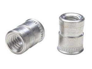 AETS-832, NUTSERT INSERT, 8-32 , MATERIAL THICKNESS (.030-UP) RND NUTSERT SPLINED, LOW PRO HD, STEEL, CAD CLR (100 PK)