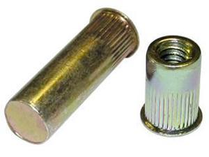 AEKS8-832-80, RIVETNUT, 8-32  (.020-.080 GR) RND BODY SPLINED, LOW PRO HD, STEEL, ZINC YLW (100 PK)