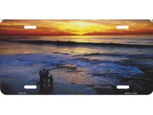 Ocean Sunset Metal License Plate