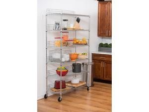 TRINITY'S NSF certified heavy-duty commercial grade EcoStorage™ wire shelving rack is perfect for any industrial, home, garage, or kitchen use. With a 800 lb weight capacity per shelf on feet levelers