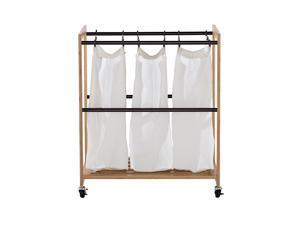 TRINITY EcoStorage™ 3-Bag Bamboo Laundry Cart