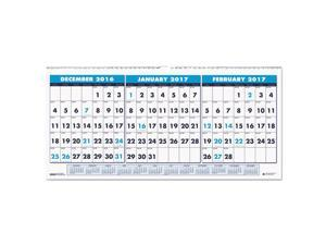 House of Doolittle HOD3648 Recycled Three-Month Horizontal Wall Calendar, 23 1/2 X 12, 14-Month, 2016-2018