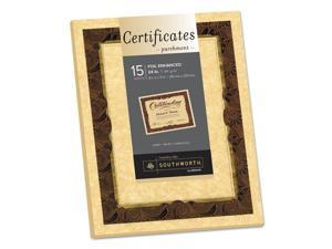 Southworth 98868 Foil-Enhanced Parchment Certificate, Brown W/Brown/Gold Foil, 8 1/2 X 11, 15/Pk