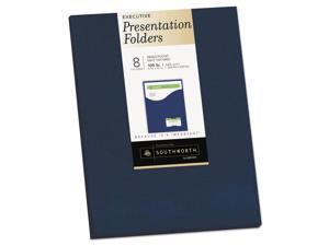 Southworth 98874 One-Pocket Presentation Folders, 8 1/2 X 11, Navy, 8/Pack