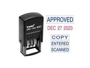 Trodat E4853L Economy 5-In-1 Micro Date Stamp, Self-Inking, 3/4 X 1, Blue/Red