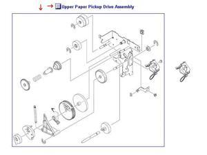 HP RM1-2229-000CN Upper Paper Pickup Drive Assembly - Located In 2 X 500-Sheet Paper Tray Assembly