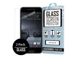 HTC One A9 Screen Protector Covers (2 Pack), Bubble Free Oleophoic Coated Tempered GLASS - MPERO