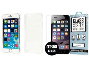 iPhone 6 / 6S Case, SLIM SHOCK Proof Flexible Soft Protective Cover, Clear + Bubble Free Tempered Glass Screen Protector