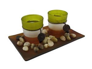 3 Piece Glass Votive and Tealite Candle Garden
