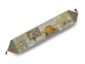 Joyful Harvest Autumn Themed Tapestry Table Runner 72 in. x 13 in.
