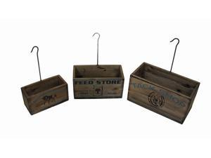 Set of 4 Vintage Look Nesting Tack Shop Planter Boxes with Hangers