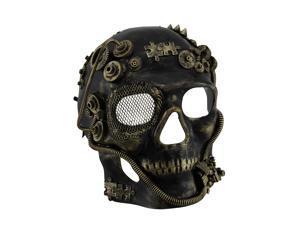 Metallic Steampunk Skull Full Face Masquerade Mask