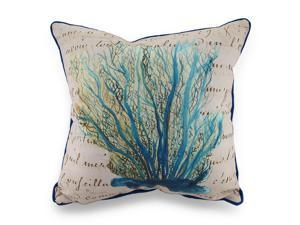Betsy Drake Blue Coral Print Beige In/Outdoor Decorative Throw Pillow 18in.