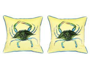 Pair of Betsy Drake Female Blue Crab Large Indoor/Outdoor Pillows18 In X 18 In