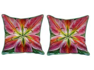 Pair of Betsy Drake Pink Lily Large Pillows 18 Inch x 18 Inch