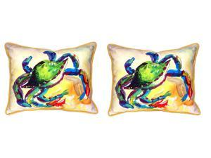 Pair of Betsy Drake Teal Crab Large Indoor/Outdoor Pillows 16x20