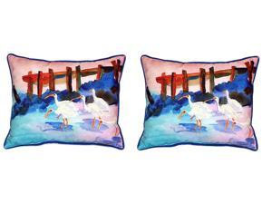 Pair of Betsy Drake White Ibises Large Indoor/Outdoor Pillows 16x20