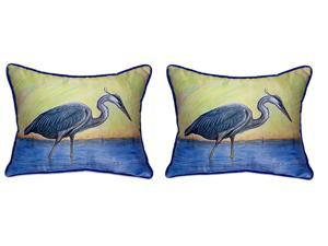 Pair of Betsy Drake Blue Heron Large Pillows 15 Inch x 22 Inch