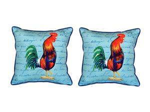 Pair of Betsy Drake Blue Rooster Script - Large Indoor/Outdoor Pillows 18x18