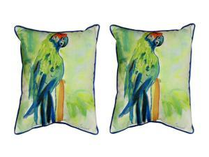 Pair of Betsy Drake Green Parrot Large Indoor/Outdoor Pillows 16x20