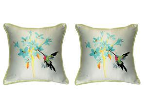 Pair of Betsy Drake Blue Hummingbird Large Pillows 18 Inch x 18 Inch