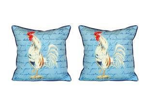 Pair of Betsy Drake White Rooster Script Large Indoor/Outdoor Pillows 18x18