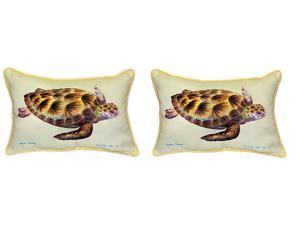 Pair of Betsy Drake Green Sea Turtle Large Pillows 15 Inch x 22 Inch