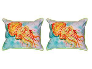 Pair of Betsy Drake Orange Jellyfish Large Indoor/Outdoor Pillows