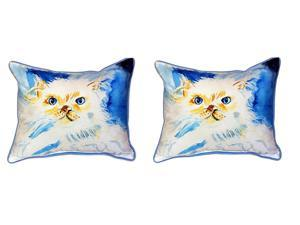 Pair of Betsy Drake `Junior the Cat` Indoor/Outdoor Pillows 16 In. X 20 In.