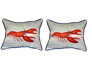 Pair of Betsy Drake Red Lobster Large Pillows