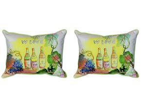 Pair of Betsy Drake `Wine Bottles` Indoor/Outdoor Pillows 16 In. X 20 In.