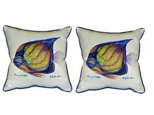 Pair of Betsy Drake Blue Ring Angelfish Large Pillows 18 Inch x 18 Inch