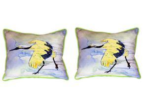 Pair of Betsy Drake Yellow Crane Large Indoor/Outdoor Pillows 16x20