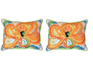 Pair of Betsy Drake Orange Octopus Large Indoor/Outdoor Pillows