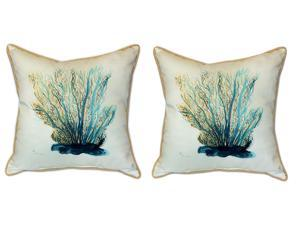 Pair of Betsy Drake Blue Coral Large Pillows 18 Inch x 18 Inch