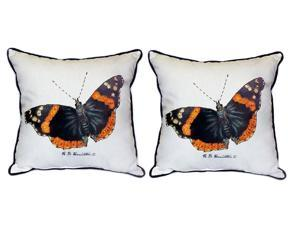 Pair of Betsy Drake Red Admiral Butterfly Large Pillows 18 Inch x 18 Inch