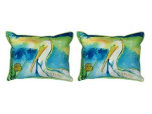 Pair of Betsy Drake `White Pelican` Indoor/Outdoor Pillows 16 In. X 20 In.